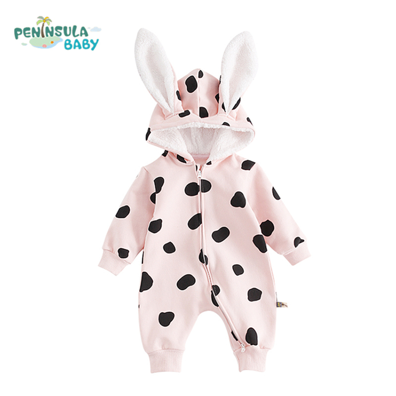 High Quality Baby Warm Rompers Boys Girls Thicken Long Sleeves Rabbit Ears Cotton Hooded Winter Clothing Infant Jumpsuit baby climb clothing newborn boys girls warm romper spring autumn winter baby cotton knit jumpsuits 0 18m long sleeves rompers
