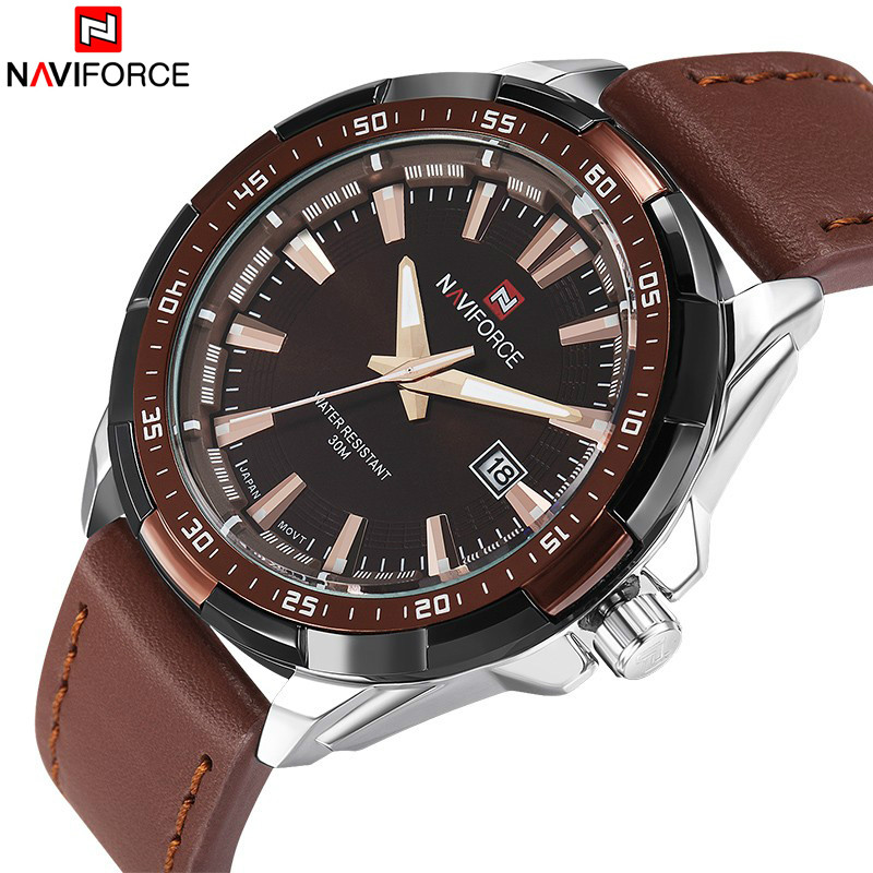 NAVIFORCE Brand Fashion Casual Men's Watches Waterproof Sport Quartz Watch Men Military Leather Clock Male Relogio Masculino 2018 new fashion casual naviforce brand waterproof quartz watch men military leather sports watches man clock relogio masculino