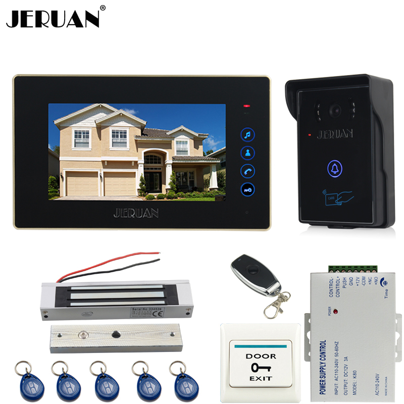 JERUAN 7`` touch key video door phone intercom system kit RFID touch key waterproof access Camera 180KG Magnetic lock + power jeruan wired 7 touch key video doorphone intercom system kit waterproof touch key password keypad camera 180kg magnetic lock