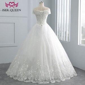 Image 3 - כובע שרוול רקמת מקסים ואגלי v צוואר לבן חתונה שמלת 2020 תפור לפי מידה גודל כדור שמלת חתונת שמלות WX0107