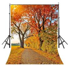 5x7ft Maple Leaf Backdrop Autumn Road Scenery Photography Background and Studio Props