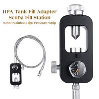 HPA tank Fill Refill Adaptor Scuba Fill Station From a Scuba Cylinder 3000psi/4500psi airsoft paintball w/36 Stainless whip