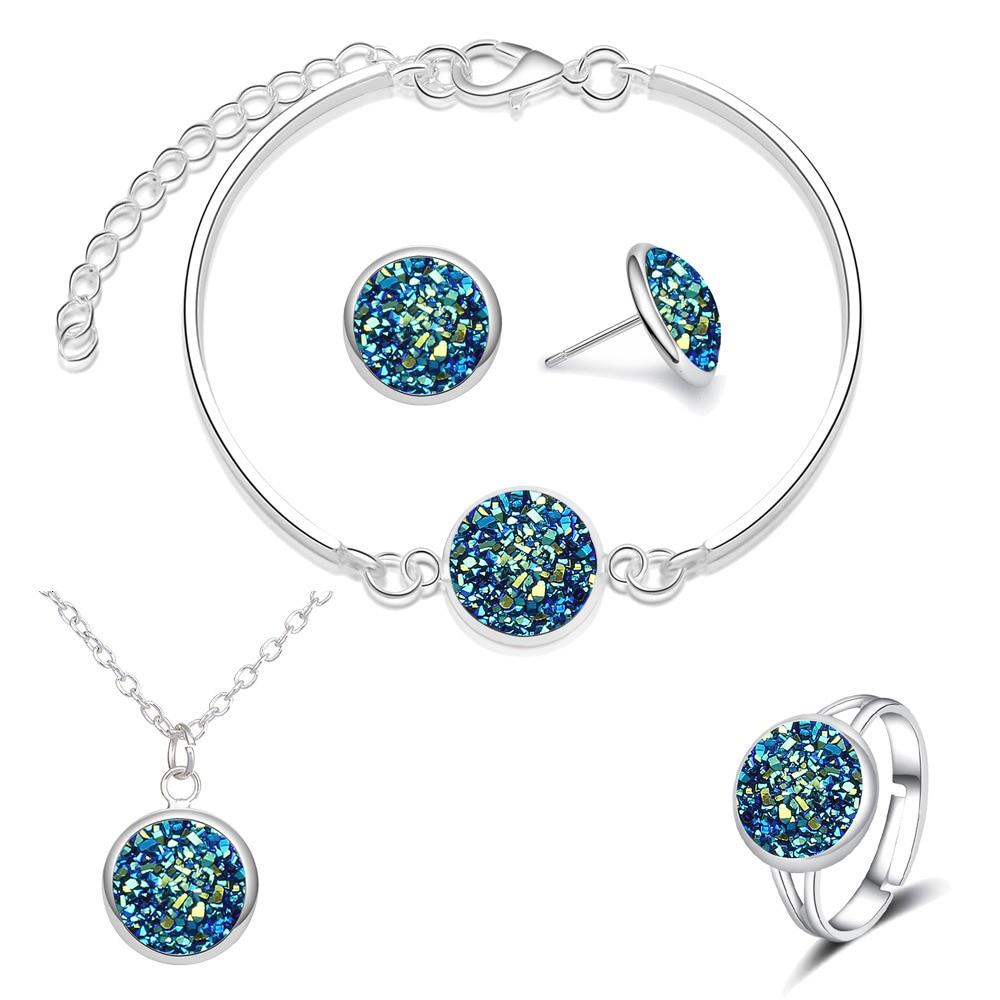 2020 Stainless Steel Jewelry Sets for Women Bridal Bridesmaid Broken Sparkly Quartz Rhinestone Necklace Set Wedding Jewelry Set