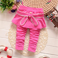 Hot Sale Spring Autumn Baby Pants Candy 4 Colour Pure Cotton Stirpe Bow Girl Skirt Pants Baby's Skirt Leggings Kids Skirt Pants