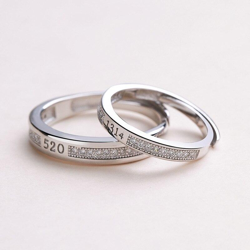 S-S925 Argent Amour vous tout le temps amoureux usure argent bijoux à abandonner de mode anneaux de Couple ensemble de mariage bijoux En Argent