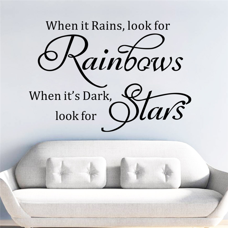 When It Rains Look For Rainbows Wall Art Vinyl Kitchen Lounge Bedroom Quote Indian South Asian Tapestries Instantorganicgarden Home Garden