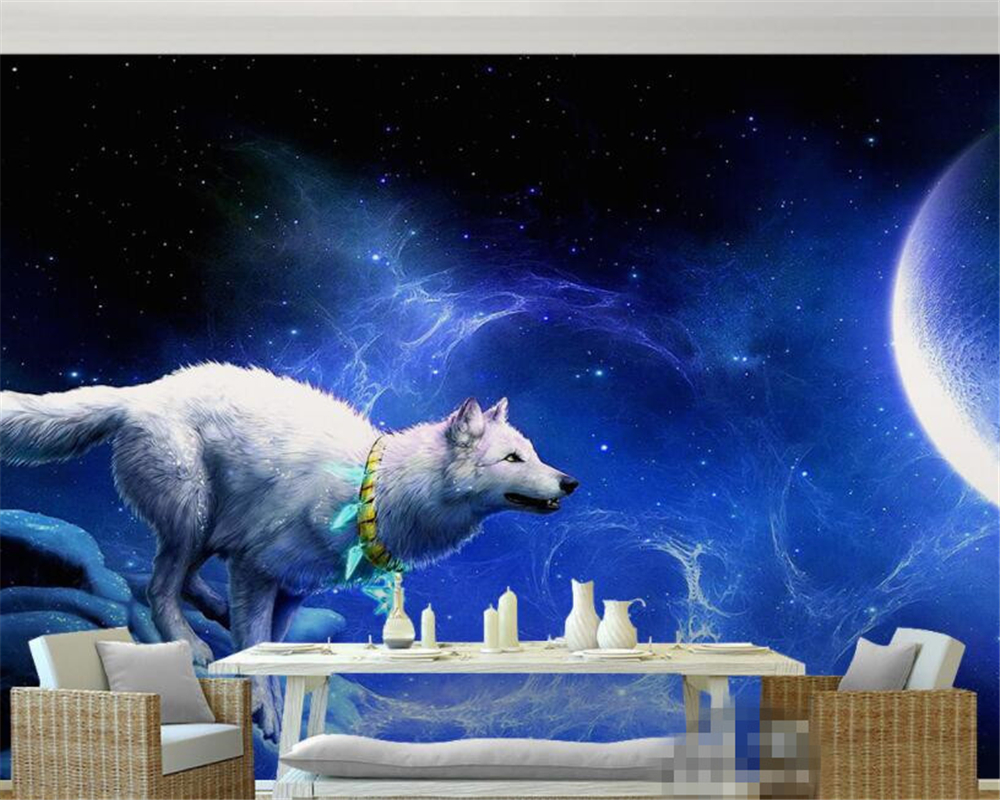 Us 8 85 41 Off Beibehang White Wolf And Moon Art 3d Wallpaper Gaming Room Living Room Painter Home Decoration Wall Wallpaper Papel De Parede In