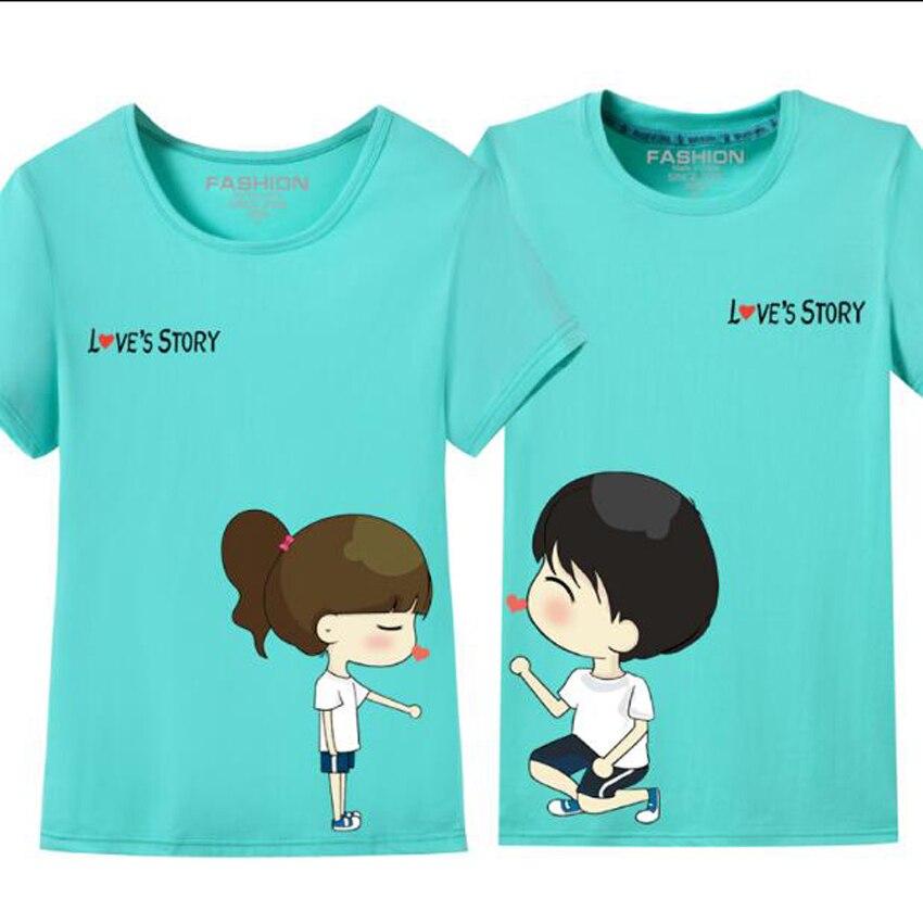 Plus Size S-4XL Cute Cartoon Couple T Shirt Women And Men Summer Korean Casual O Neck Short Sleeve Pairs T-Shirt Lovers Clothes