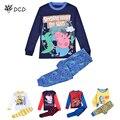 100% algodão o porco crianças pijama definir Meninos meninas pijamas roupas menina da longo-luva pijamas 2 pcs set bebê pijamas pijama 2-7A