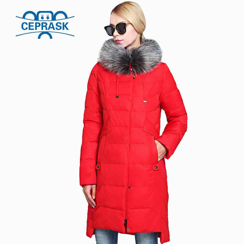 2020 새로운 겨울 여성 자 켓 플러스 크기 긴 너구리 모피 따뜻한 여성 코트 고품질 생물 학적 다운 여성 파 카 CEPRASK
