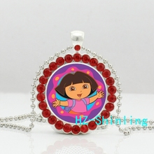 New Trendy Dora The Explorer Crystal Pendant Lovely Dora Photo Necklace Glass Anime Jewelry Silver Ball Chain Necklaces