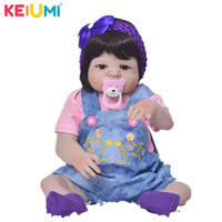 Alive 23'' Baby Reborn Silicone Babies Doll Full Vinyl Body Handmade Realistic Newborn Doll For Girl Festival Gifts Playmate Toy