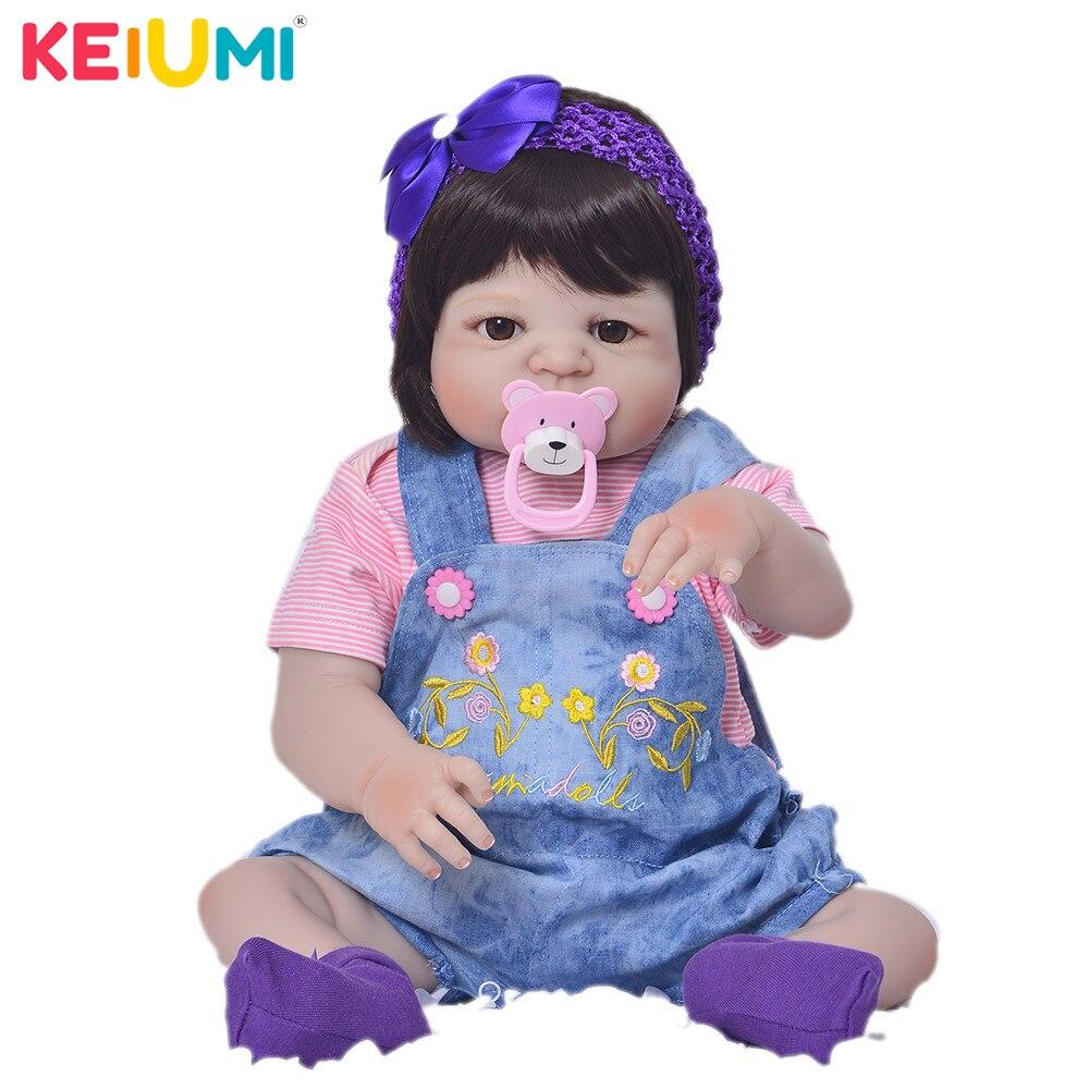 Lebendig 23 ''Baby Reborn Silikon Babys Puppe Volle Vinyl Körper Handgemachte Realistische Newborn Puppe Für Mädchen Festival Geschenke Playmate spielzeug-in Puppen aus Spielzeug und Hobbys bei  Gruppe 1