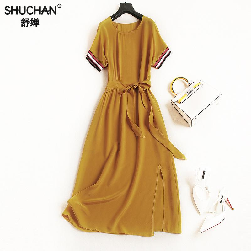 Shuchan Retro Drss 100% Chinese Silk Sashes O-neck High Quality Women Dresses 2018 Split ...