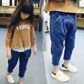 2-7Y, 2016 new spring girls jeans children flash fashionable harem pants baby denim capris kids trousers