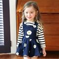Детская одежда 2016 новое поступление корейской детской одежды мода цветок печать синий джинсовый жан девушки жилет платье ну вечеринку платье
