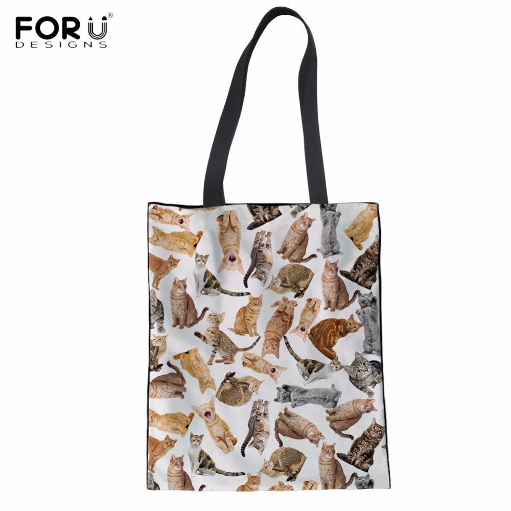 FORUDESIGNS Cute 3D Puzzle Cat/Kitten Women Folding Shopping Tote Bags Casual Large Grocery Bag Fashion Female Recycle Cloth Bag ...