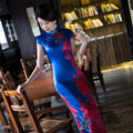 chinese style traditional dress lace qipao long silk cheongsam long sleeve with sleeves embroidery ladies elegant vintage blue