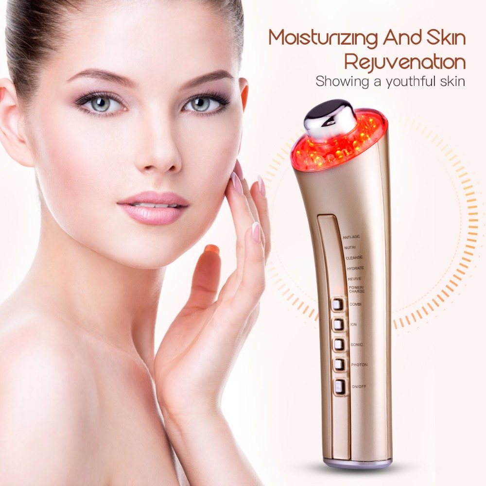 Multifunctional LED Photon Therapy Ultrasonic Facial Massager Portable Skin Care Beauty Blackhead Acne Wrinkle Remover Cleaner portable home use blued led light photon therapy anti aging acne scar mark treatment skin care beauty facial massager machine