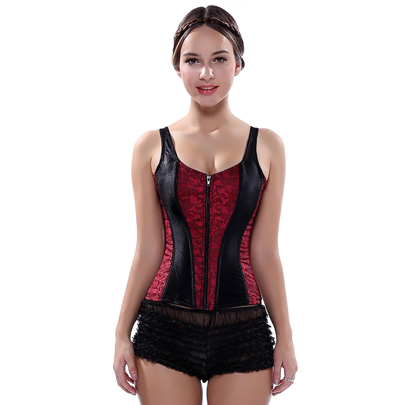 Image 5 - Women Corset 2019 New Vest Tops Fashionable Bustier Corselet Overbust Red Black Corset With Straps Satin Sexy Lingerie 2928-in Bustiers & Corsets from Underwear & Sleepwears