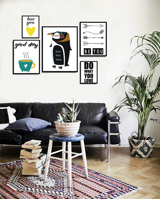 Nordic Leuke Dieren Penguins Canvas Schilderen Poster Kinderkamer ...
