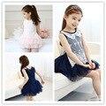 Девочки принцесса кружева летнее платье детям детский жилет платья малышей девушки кукла воротник туту платье синий розовый для 2 ~ 7 лет