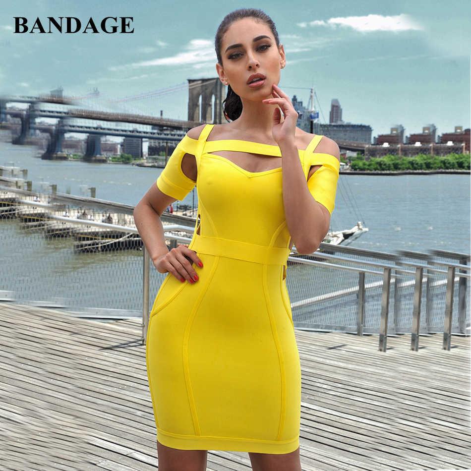 52399d9a41280 Leger Babe Fashion New Arrivals Yellow Bandage Dress Spaghetti Strap Cut  Out Dresses Celebrity Party Nightout Bodycon Vestido