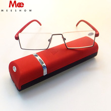 ФОТО 2018 meeshow brand reading glasses men women eye glasses half rim  with case classic stainless steel glasses gift packing