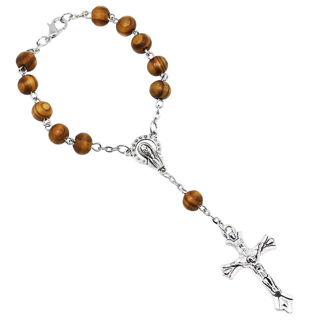 0b5a1937850a9 NingXiang 100 pçs lote 8mm Bronze Contas de Madeira Religiosa Católica  Rosário Pulseira Unisex Homens