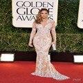 Moda 2016 Bordado Sereia Vestidos de Celebridades 2017 Tapete Vermelho Jennifer Lopez Sexy Lace Sheer Manga Comprida Vestido De Festa