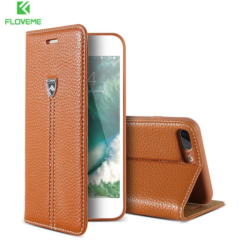 FLOVEME Leather Case For iPhone 6 8 7 Luxury Magnetic Flip Case Card Slot Wallet Cover Bag For iPhone 7 6 8 Plus X