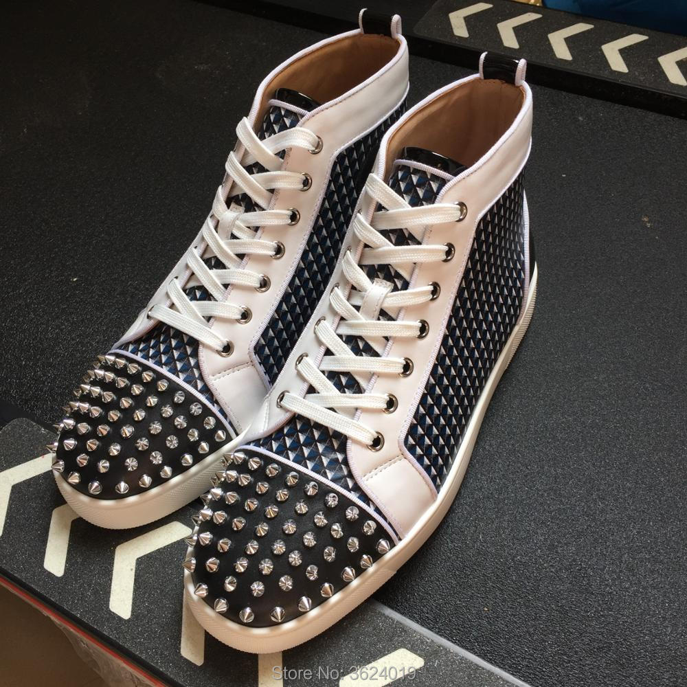 a4b7084a2b6f clandgz high heel shoes White Chidori lattice Lace-up Rivets Fashion Party  Red bottom Sneakers leather casual shoes 2018 Male