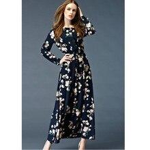 8a8f4dc4414 Zmvkgsoa Women Elegant Long Maxi Dress Hot Sale Autumn Winter Russian Style  Flower Print Dresses Female