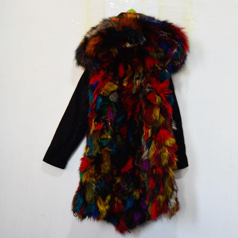Mhnkro Mixed Color Colorful Dye Fox Fur Parka Long MR MRS Winter Black Coat Family Wear Plus Size XS-4XL