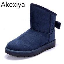 Akexiya neue heiße ankunft mode frauen schnee stiefel schuhe ug Kunstleder Frauen Stiefeletten Schuhe Warme Womens Winter Schuhe Botas