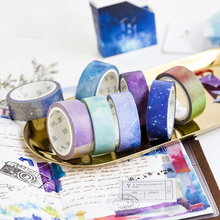 24 pcs/Lot Galaxy star paper washi tape Rainbow sky masking tapes 15mm*7m decoration album DIY Stationery FJ909