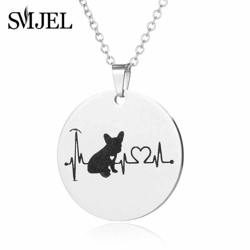 Smjel Animal Bahasa Perancis Bulldog Kalung untuk Wanita Collier Bulat Pesona Kalung Anjing Kekasih Hadiah Perhiasan Bijoux 2019 Baru
