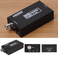 HDMI Male to SDI Female Steel Case Video Converter Adapter with EU/US/UK Plug switch three signal sources to one display