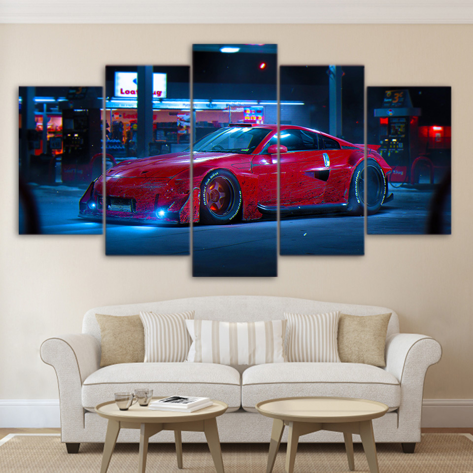 Modern Canvas Painting HD Printing Poster 5 Pieces Wall Art Red Sports Car Street Night View Living Room Home Decor