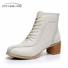 купить Genuine Leather winter Handmade Women beige blue Ankle Boots Comfortable quality soft Shoes Brand Designer us size 9.5 fur онлайн