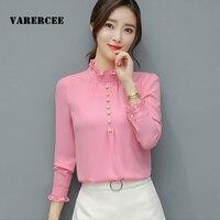 VARERCEE Full Puff Sleeve Women Blouses 2018 Spring Autumn Solid Stand Collar Chiffion Women Shirt Button