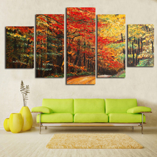 Modern Home Wall Art Decor Unframed Modular Pictures 5 Pieces Red Maple Tree Woods Autumn Scenery HD Printed Painting