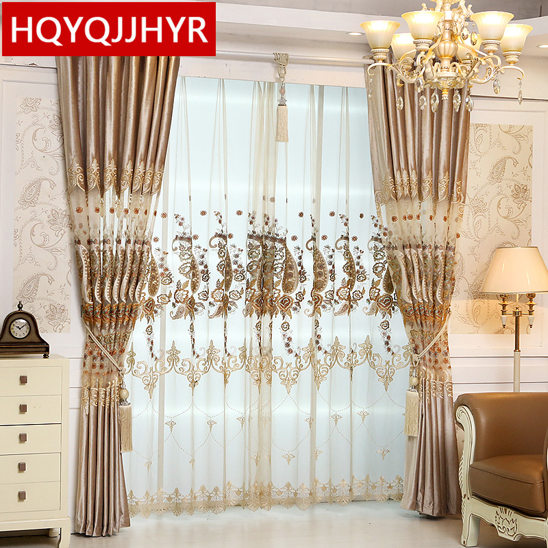 High End Decorative Living Room European Style Luxury: European Luxury Velvet High End Custom Embroidery Curtains