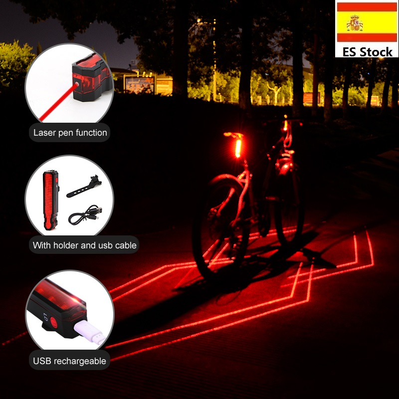 MTB Bicicleta Lanterna Traseira Do Laser Super Brilhante USB Bateria Recarregável Flasing Luz Traseira Da Bicicleta À Prova D' Água