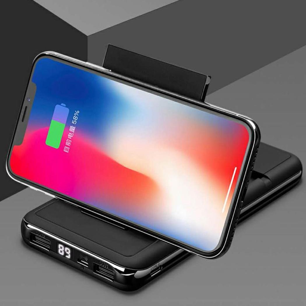 30000mAh Wireless Quick Charging Power Bank External Battery Pack For Xiaomi iPhone X Mobile Phone Holder Stand Powerbank