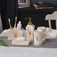 6 Pieces Bathroom Toiletries Accessory Set, Includes Decorative Countertop Soap Dish & Dispenser, Tumbler,Toothbrush Holder,Tray