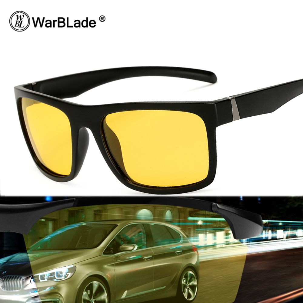 WarBLade Men Night Driving Sunglasses Polarized Night Vision Male Glasses 2018 New Classic Designer Brand Yellow Anti Glare