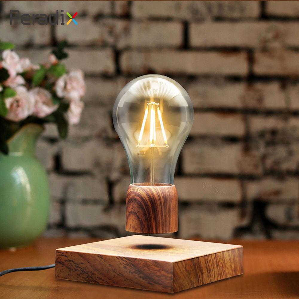 Cadeau Flottant Lumière Ampoule Lévitation Flottant Blub Creative Unique Flottant Led Lumière Brun En Bois LED Magnétisme Maison Bureau