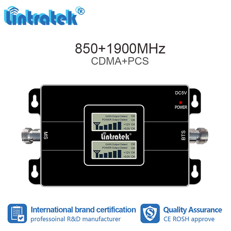 lintratek 2G 3G 850 1900 GSM 850 PCS 1900MHz Cellular Signal Booster  Repeater Band 2 UMTS 1900 CDMA 850 Amplifier Repetidor #8lintratek 2G 3G 850 1900 GSM 850 PCS 1900MHz Cellular Signal Booster  Repeater Band 2 UMTS 1900 CDMA 850 Amplifier Repetidor #8