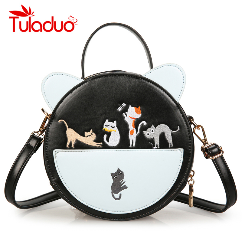 Embroidery Women Bags Cat Ear Round Crossbody Bag Mini PU Leather Shoulder Bag Female Purse and Wallet Handbag 2018 New Style 2017 new embroidery flowers women handbag high quality pu leather lady design shoulder crossbody bag women s purse female bag
